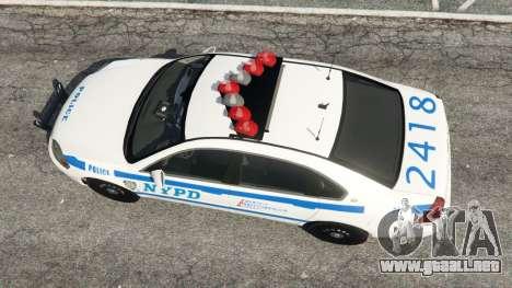 GTA 5 Chevrolet Impala NYPD vista trasera
