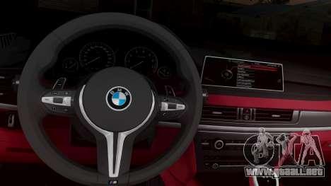 BMW X6M F86 v2.0 para GTA San Andreas vista hacia atrás