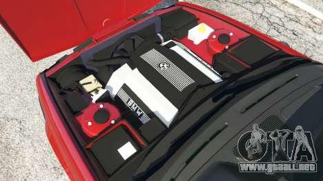 GTA 5 BMW M5 (E34) 1991 vista lateral trasera derecha