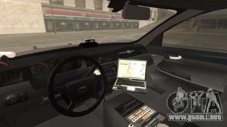Chevrolet Impala SASD Sheriff Department para la visión correcta GTA San Andreas