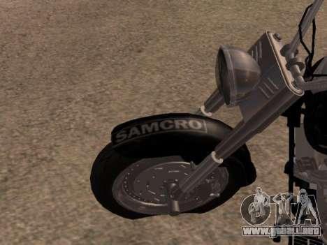 Harley Davidson Fat Boy Sons Of Anarchy para GTA San Andreas vista hacia atrás