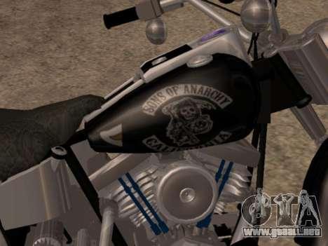Harley Davidson Fat Boy Sons Of Anarchy para GTA San Andreas vista posterior izquierda