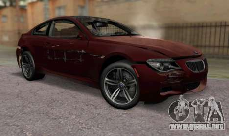 BMW M6 E63 para GTA San Andreas vista hacia atrás