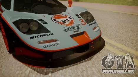 McLaren F1 GTR 1998 Gulf Team para GTA San Andreas vista hacia atrás