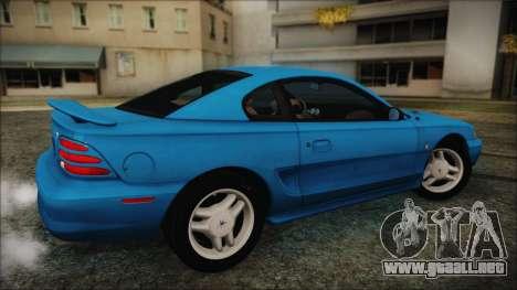 Ford Mustang GT 1993 v1.1 para GTA San Andreas vista posterior izquierda