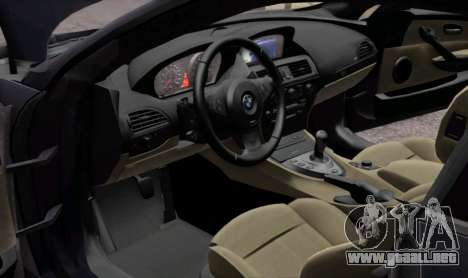 BMW M6 E63 para vista lateral GTA San Andreas