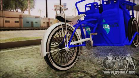Bici Colgas para GTA San Andreas vista posterior izquierda