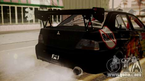 Mitsubishi Lancer Evolution Pushkar para GTA San Andreas vista hacia atrás