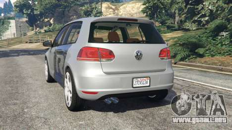 GTA 5 Volkswagen Golf Mk6 v2.0 [WRC Polo] vista lateral izquierda trasera