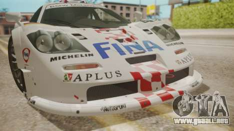 McLaren F1 GTR 1998 Team BMW para vista lateral GTA San Andreas