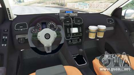 GTA 5 Volkswagen Golf Mk6 Dutch Police vista lateral trasera derecha