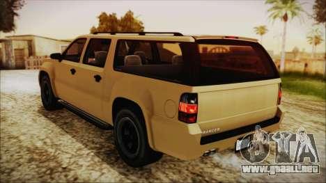GTA 5 Declasse Granger SA Style para GTA San Andreas vista posterior izquierda