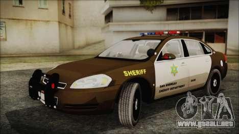 Chevrolet Impala SASD Sheriff Department para GTA San Andreas vista posterior izquierda
