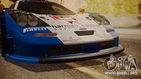 McLaren F1 GTR 1998 HarmanKardon para GTA San Andreas vista hacia atrás