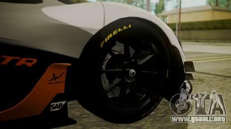 McLaren P1 GTR 2015 para GTA San Andreas vista posterior izquierda