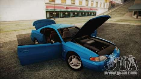 Ford Mustang GT 1993 v1.1 para GTA San Andreas vista hacia atrás