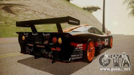 McLaren F1 GTR 1998 Gulf Team para GTA San Andreas left