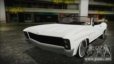 GTA 5 Albany Buccaneer Hydra Version para GTA San Andreas vista hacia atrás