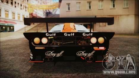 McLaren F1 GTR 1998 para vista lateral GTA San Andreas