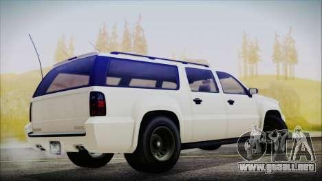 GTA 5 Declasse Granger FIB SUV para GTA San Andreas vista posterior izquierda
