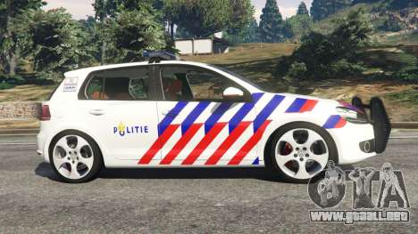 GTA 5 Volkswagen Golf Mk6 Dutch Police vista lateral izquierda
