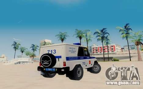 UAZ Hunter PAPS para GTA San Andreas vista posterior izquierda