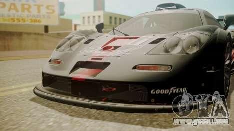 McLaren F1 GTR 1998 Day Off para GTA San Andreas vista hacia atrás
