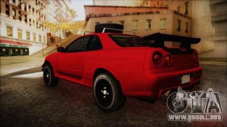 Nissan Skyline R34 Offroad Spec para GTA San Andreas left