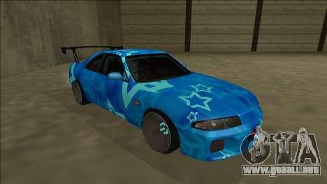 Nissan Skyline R33 Drift Blue Star para GTA San Andreas left