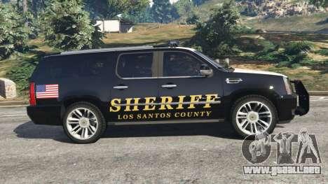 GTA 5 Cadillac Escalade ESV 2012 Police vista lateral izquierda