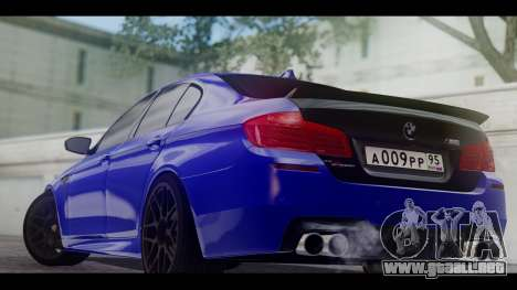 BMW M5 F10 Top Service MSK para GTA San Andreas vista posterior izquierda