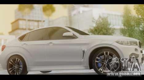 BMW X6M F86 v2.0 para GTA San Andreas vista posterior izquierda