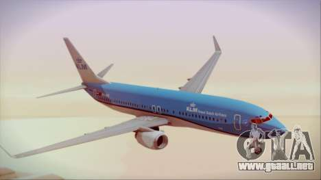Boeing 737-800 KLM Royal Dutch Airlines para GTA San Andreas vista posterior izquierda