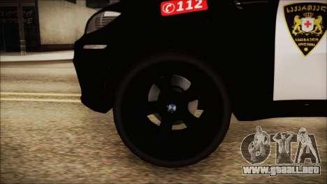BMW X6 Georgia Police para GTA San Andreas vista posterior izquierda
