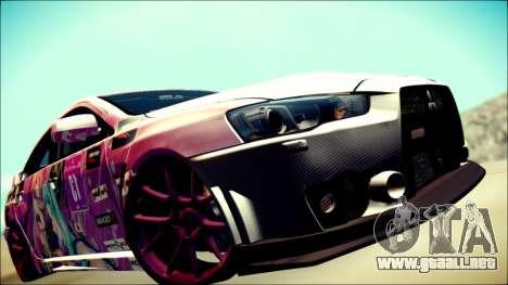 Mitsubishi Lancer Evolution Miku X Luka Itasha para GTA San Andreas vista hacia atrás