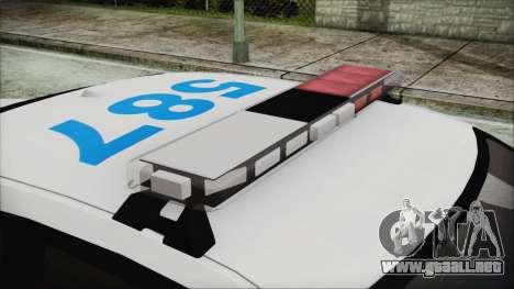 Dodge Charger SRT8 2012 Iraqi Police para GTA San Andreas vista hacia atrás