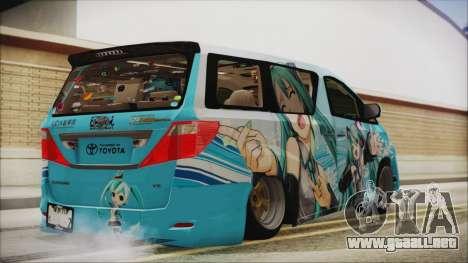 Toyota Alphard Hatsune Miku para GTA San Andreas left