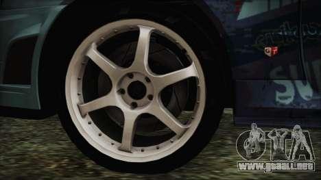 Nissan Skyline R34 Itasha para GTA San Andreas vista posterior izquierda