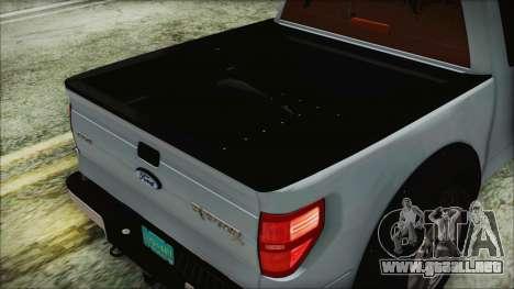 Ford F-150 SVT Raptor 2012 Stock Version para visión interna GTA San Andreas