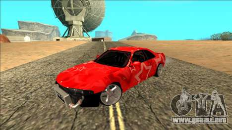 Nissan Skyline R33 Drift Red Star para GTA San Andreas vista hacia atrás