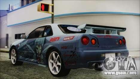 Nissan Skyline R34 Itasha para GTA San Andreas left