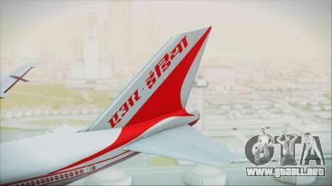 Boeing 747-237Bs Air India Krishna Deva Raya para GTA San Andreas vista posterior izquierda