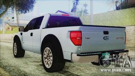 Ford F-150 SVT Raptor 2012 Stock Version para GTA San Andreas left