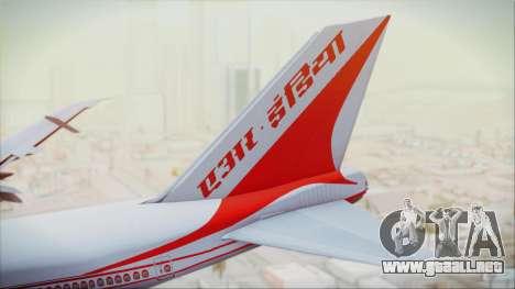 Boeing 747-237Bs Air India Akbar para GTA San Andreas vista posterior izquierda