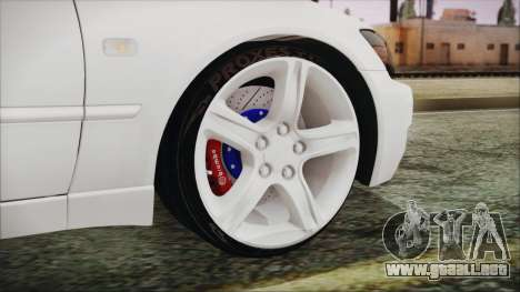 Toyota Altezza 2004 Full Tunable HQ para GTA San Andreas vista posterior izquierda
