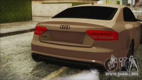 Audi RS5 para GTA San Andreas vista hacia atrás