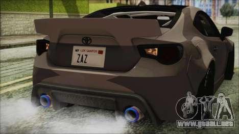 Toyota GT86 Rocket Bunny Tunable IVF para la vista superior GTA San Andreas