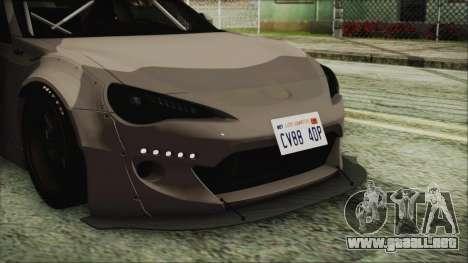 Toyota GT86 Rocket Bunny Tunable IVF para GTA San Andreas vista hacia atrás