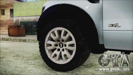 Ford F-150 SVT Raptor 2012 Stock Version para GTA San Andreas vista posterior izquierda