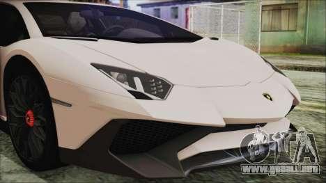 Lamborghini Aventador SV 2015 para GTA San Andreas vista hacia atrás